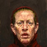 Self-Portrait (maroon hoodie), 12 x 11 inches, oil on linen, 1995